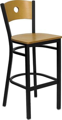 HERCULES Series Black Circle Back Metal Restaurant Barstool - Natural Wood Back & Seat-HERCULES Series Black Circle Back Metal Restaurant Barstool - Natural Wood Back & Seat