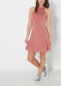 image of Dusty Pink High Neck Skater Dress