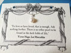 Les Misérables Freshwater Pearl Necklace, Literature Quote, Book Lover, Gift for Mother Day
