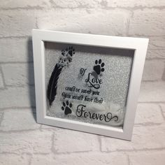 Picture perfect pet gifts for animal lovers everywhere. by Sarah Vaci on Etsy , Vinyl Frames, Box Frames, Pet Loss Gifts, Pet Gifts, Pet Memorial Gifts, Memorial Ideas, Shadow Box Art, Feather Design, Animal Quotes