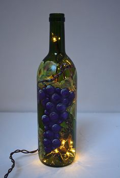 Hand Painted Wine Bottle Light w/Grapes