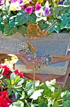 SNAIL Garden Copper Art Decor /  Metal Yard Art Plant Stake / Indoor - Outdoor Handmade Sculpture /  Home / Patina Finish