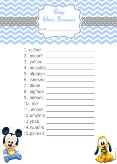 Baby Mickey Mouse Baby shower games - Word Scramble $3.99
