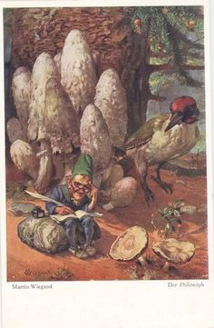 Martin Wiegand. Vintage postcard of elf and mushrooms.