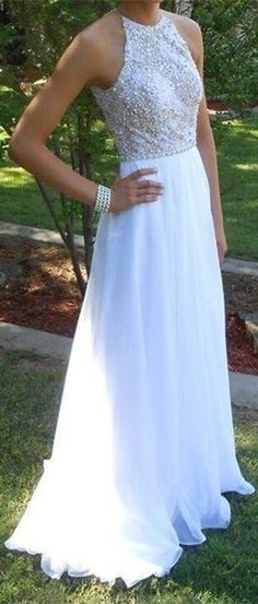 White Prom Dress with Beaded Bodice High Neckline,Long Prom Dress,Prom Dress 2016,Halter Long Open Back Beading Prom Dresses Backless Evening Dresses