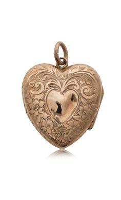 Vintage 9ct rose gold engraved heart locket