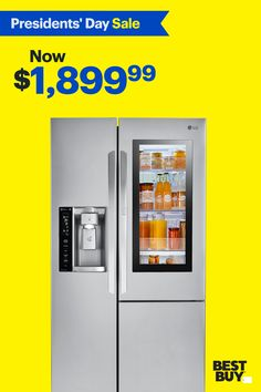 This LG fridge features InstaView so all you have to do is simply knock twice to see what's inside without letting any cold air escape. It also has plenty of space when you need it for all your groceries with its generous 26 cu. ft. Ultra Large Capacity. And for the busy family, LG's Door-in-Door feature gives you quick and easy access to your favorite beverages and snacks. Offer valid 2/7/19-2/27/19. Kitchen And Bath, New Kitchen, Kitchen Decor, Kitchen Gadgets, Kitchen Appliances, Kitchens, Small Room Bedroom, Small Rooms, Bedroom Ideas