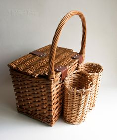 Vintage Retro 1960s/70s Wicker Picnic Basket with Bottle Carrier by UpStagedVintage on Etsy