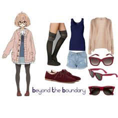 ANIME INSPIRED OUTFITS; Mirai Kuriyama/Beyond The Boundary inspired outfit by animexoutfits on Polyvore featuring Oasis, By Malene Birger, Sole Society, Ray-Ban, Marc Jacobs and anime