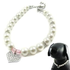 """Alfie Couture Designer Pet Jewelry - Pinky Crystal Heart Pearl Necklace - Size: S (8""""- 10"""") for Dogs and Cats"""