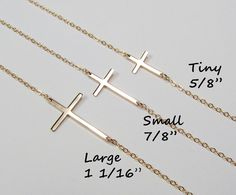 Kelly Ripa Sideways Cross Necklace Gold Filled OR by gemsinvogue, $34.00