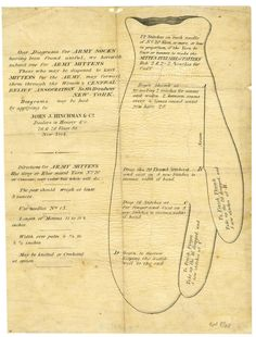 US Sanitary Commission directions for mittens.