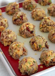 Sausage and stuffing balls with cranberries, celery and onion - stove top easy! .....YUMMMMMM!