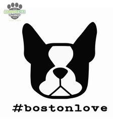 #bostonlove - Boston Terrier dog decal - car vinyl sticker - you choose shape - Smooshface United: flat face breed bias love