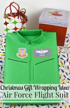A creative gift wrapping idea of making an Air Force Flight suit is perfect for a fun Christmas gift wrapping idea or for any occasion. Teacher Christmas Gifts, Christmas Gifts For Friends, Christmas Stocking Stuffers, Christmas Gift Guide, Christmas Gift Wrapping, Christmas Fun, Holiday Gifts, Teacher Gifts, Creative Gift Wrapping