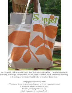 Freezer paper stencil on a canvas tote bag