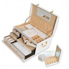 Morelle Elizabeth Large Leather Illuminated Jewelry Box Leather