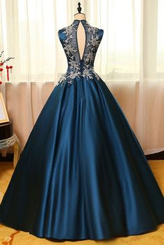 Blue  satins lace applique round neck see-through A-line  long prom dresses,ball gown dresses