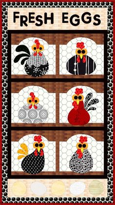 Fresh Eggs Quilt Pattern FCP-033 (advanced beginner, wall hanging)