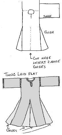 Construction method for a medieval tunic and hat, including some discussion of fabrics, colors, patterns, and decorations.