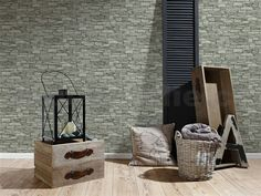 AS Creations Wallpaper - Wood Stone Slate Rust - Wallpaper Direct, Wallpaper Online, Original Wallpaper, Grey Brick Effect Wallpaper, Stone Wallpaper, Cracked Wall, Natural Living, Wood Stone, Bathroom Wallpaper