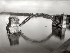 Key Bridge under construction via Ghosts of DC. For more visit: http://ghostsofdc.org/2012/10/05/key-bridge-1920s/#