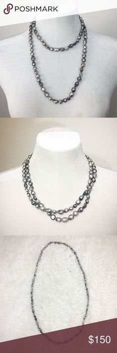 """Listing!  Grey Baroque Pearl Necklace 8mm - 15mm medium grey, silver, & lavender baroque freshwater pearls on a light grey knotted, endless single 41"""" long strand. Jewelry Necklaces"""