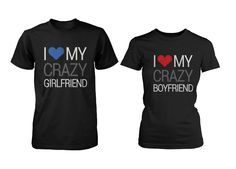 His and Hers Matching Couple T-shirts I Love My Crazy Boyfriend and Gi