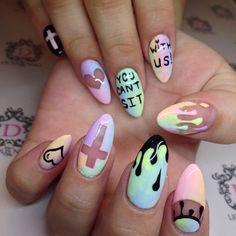 """#YouCantSitWithUs #pastelgoth #pastelgothNails #pastelNails #Drip #itsallgoodep #915artist ❤️ #meanGirlsNails 2hr"""