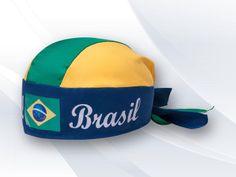 Bandana Promocional Copa 2014 VC1104, estilo motoqueiro com motivos do Brasil em microfibra, regulador laço com rabicho tartaruga.