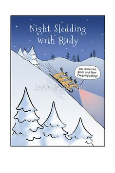 Night Sledding with Rudolph Holiday Cards