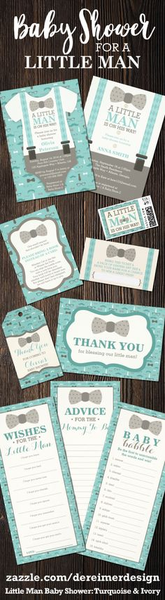 Little Man Baby Shower Invitation Collection in Ivory, Turquoise, and Tan, Bow Tie Baby Shower, Oh Boy Baby Shower Baby Shower For Men, Little Man Shower, Unique Baby Shower Favors, Diy Baby Shower Decorations, Baby Shower Table, Baby Shower Parties, Bachelorette Decorations, Baby Shower Invitations, Ideas Party