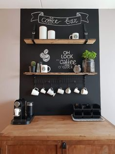 "Coffee bar party: ""You warmed my heart"" theme . Coffee bar party: ""You warmed my heart"" theme! - Bar Coffee The du Coffee Bar Design, Coffee Bar Home, Home Coffee Stations, Coffee Shop, Coffee Bars, Coffee Corner Kitchen, Coffee Bar Station, Big Coffee, Cheap Coffee"