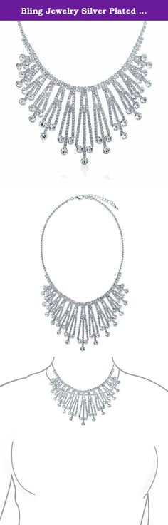 Bling Jewelry Silver Plated Art Deco Style Bridal Crystal Choker Necklace. This silver-plated necklace sports rows of sparkly drops that are as stylish as they are beautiful-thirteen dangling crystal pendants hang from a delicate, single row of linked crystals, looking like a tiara for your neck. With an Art Deco vibe, this would be a perfect Gatsby-inspired necklace for any themed party and would bring a splash of sparkle to your 1920s wedding.