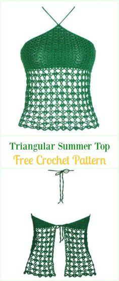 Crochet Triangular Summer Top Free Pattern Video-#Crochet Summer Halter #Top Free Patterns