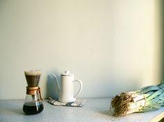 Coffee and leeks.