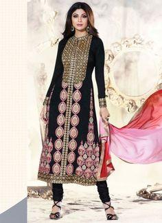 Shilpa Shetty Black Casual Wear Churidar Suit http://www.angelnx.com/Salwar-Kameez/