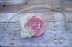 Dusty Pink Rosette on an Natural Super Skinny by RCCCouture
