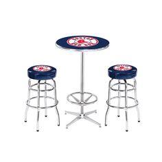 Boston Red Sox MLB Pub Table and Barstool Set (3 Piece Set)