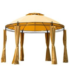 Outsunny 3.5M Diameter Round Patio Garden Metal Framed Gazebo Marquee Party Tent Canopy Shelter Pavilion with Sidewalls Orange