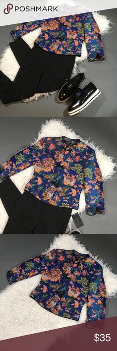 ZARA Floral Print Traditional Chinese Style Jacket Size- S  New with tags Zara Jackets & Coats