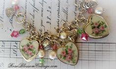 Three Pink Roses Broken China Jewelry Crystal Pearl Charm Bracelet