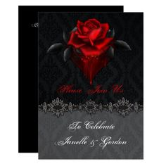 Shop Blood Red Roses Black Damask Reception Only Invitation created by dmboyce. Personalize it with photos & text or purchase as is! Black Red Wedding, Red Rose Wedding, Gothic Wedding, Dream Wedding, Wedding Flowers, Black Weddings, Medieval Wedding, Sister Wedding, Perfect Wedding