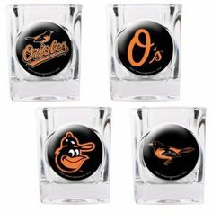 MLB Baltimore Orioles Four Piece Square Shot Glass Set (Individual Logos) by Great American Products. $24.99. The perfect compliment to your Bar or Game Room décor.. Decorated with multiple Team Logos.. Officially Licensed 4pc Square Shot Glass Set.