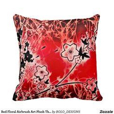 Red Floral Airbrush Art Plush Throw Pillow