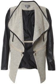 Stone & Black Faux Leather Arms Cardigan