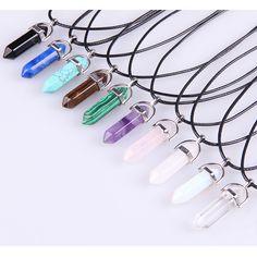 Vintage Kugel Quarz Kristall Halskette Anhänger Für Frauen Amethyst Türkis Seil Kette Halskette Modeschmuck Bijoux Collares