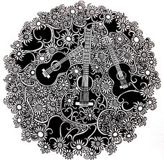 Guitars and flowers i gonna color this : http://kleurvitality.blogspot.be