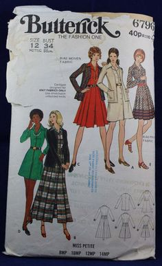 Sewing Pattern for a Misses Petite Dress and Cardigan in Size 12 - Butterick 6796