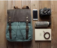Retro Fashion Blue Leisure Canvas Backpack